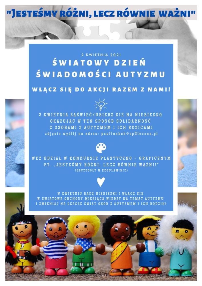 Plakat Światowego dnia świadomości Autyzmu-Hasło: Jesteśmy różni lecz równie ważni