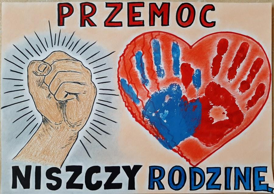 Plakat z hasłem: PRZEMOC NISZCZY RODZINĘ autorstwa Natalii Tatarczak. Praca nagrodzona I miejscem w kategorii klas 4-8.