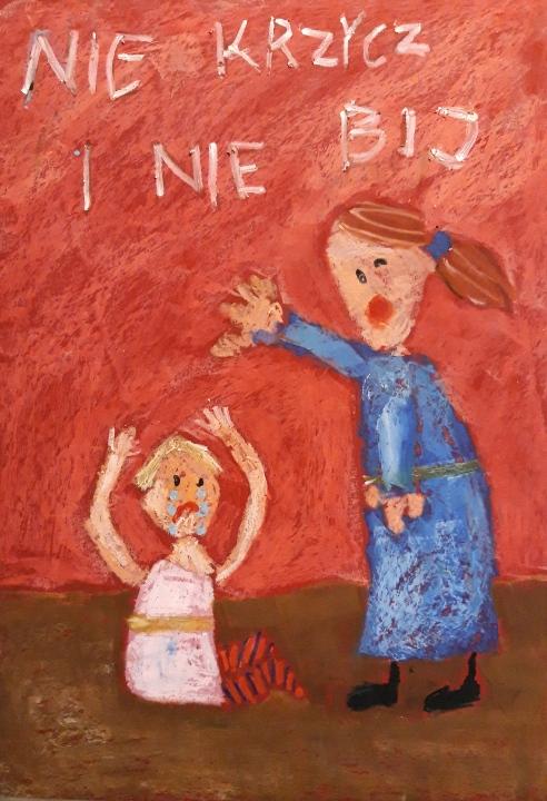Plakat z hasłem: NIE KRZYCZ I NIE BIJ autorstwa Joanny Brodzisz. Praca nagrodzona I miejscem w kategorii klas 1-3.