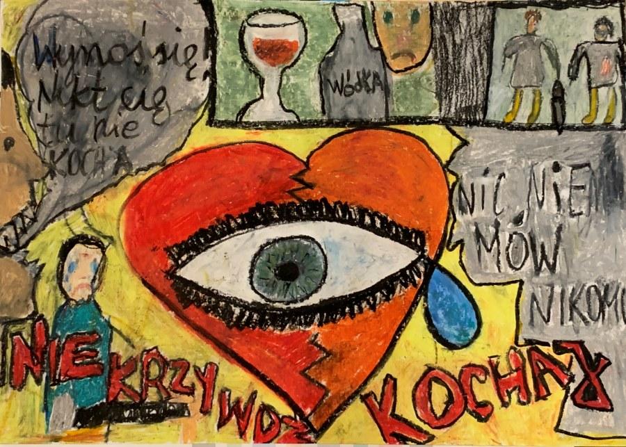 Plakat z hasłem: NIE KRZYWDŹ, KOCHAJ autorstwa Krzysztofa Duni. Praca wyróżniona.