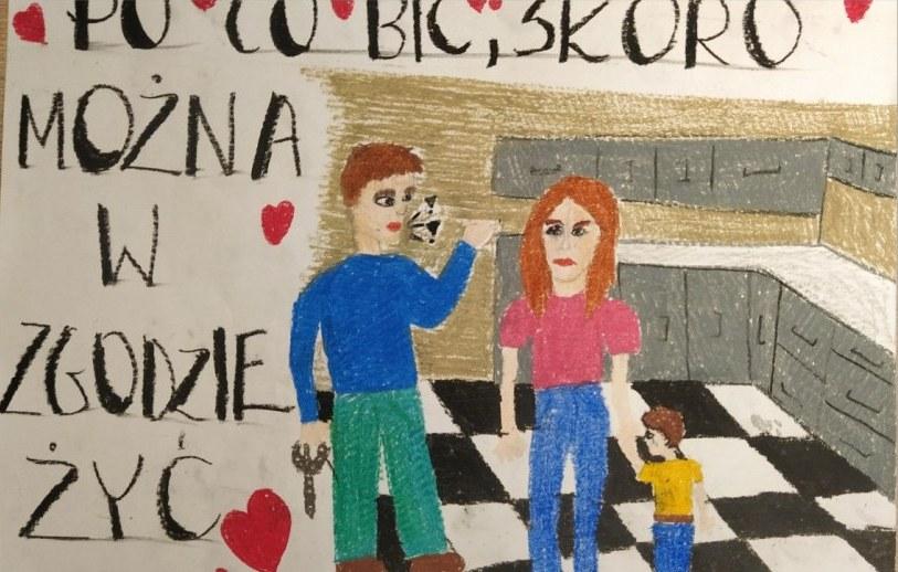 Plakat z hasłem: PO CO BIĆ SKORO MOŻNA W ZGODZIE ŻYĆ autorstwa Aleksandry Zielińskiej. 2 miejsce w kategorii klas 6-8.