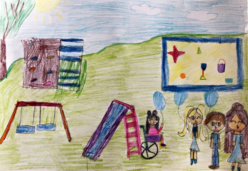 Jesteśmy różni, lecz równie ważni. Praca plastyczna wykonana przez Julię Lisek z klasy 2c, która zajęła I miejsce w konkursie