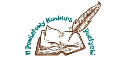 Otwarta książka z piórem i napis II Powiatowy Konkurs Poetycki