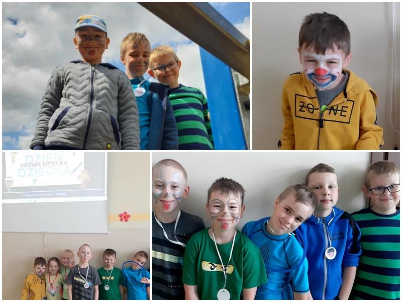 Kolaż zdjęć dzieci w wieku 8-9 lat. Są uśmiechnięte, mają pomalowane buzie kolorowymi kredkami. Na szyi mają zawieszone ordery z okazji Dnia Dziecka. Dzieci pozują do zdjęć grupowo, w parach, pojedynczo. Zdjęcia wykonane są w sali świetlicy szkolnej i na placu zabaw na terenie szkoły.