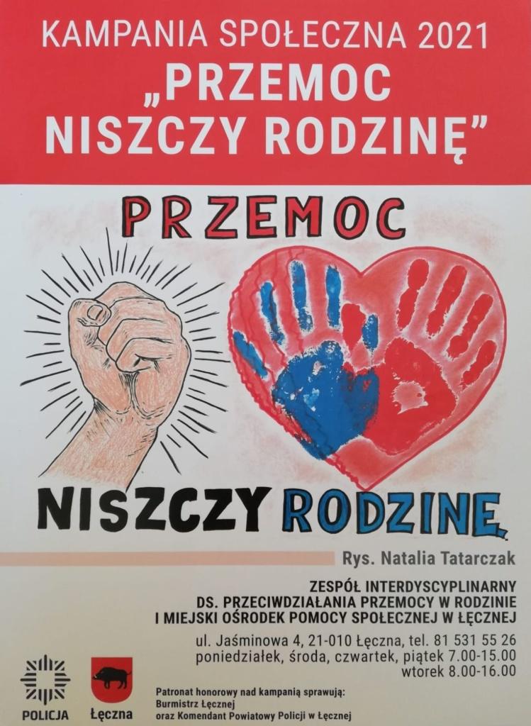 """Plakat promujący akcję """"Przemoc niszczy rodzinę"""" – zaciśnięta pięść, obok serce, na którym widnieją odciśnięte dłonie: niebieska i czerwona"""