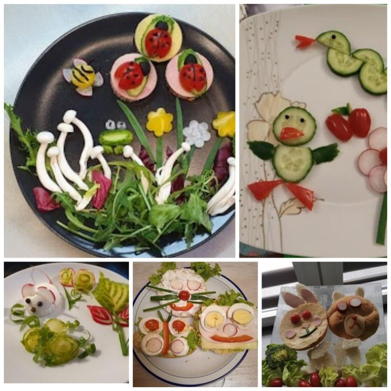 wiosenne, kolorowe potrawy, zachęcające swym wyglądem i wyjątkowością do spożywania warzyw i owoców