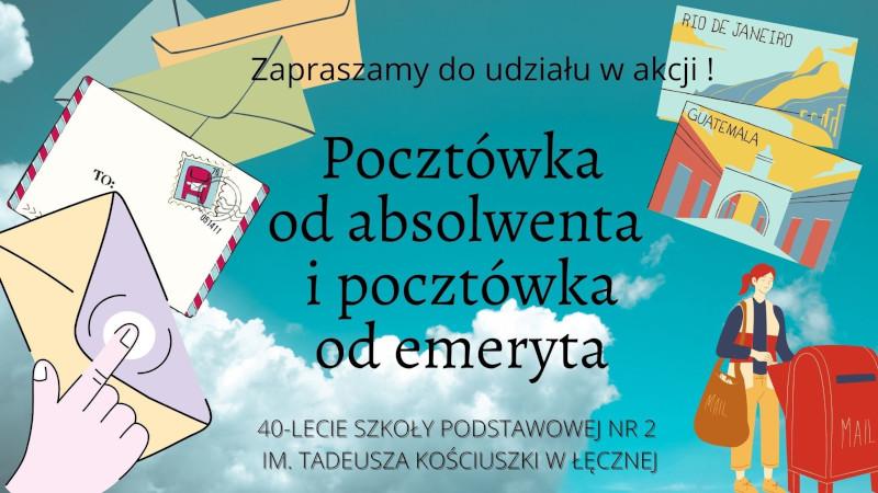 Baner akcji Pocztówka od absolwenta i od emeryta. Pocztówki i listy. Osoba wrzuca listy do skrzynki.